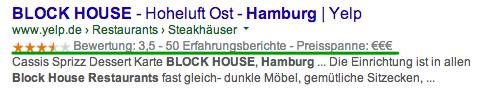 """Sternebewertung bei Yelp für das Restaurant """"Block House"""" in Hamburg"""