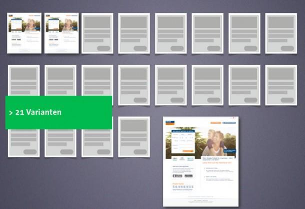 Viele Varianten mit unterschiedlichen Formulierungen und Bildwelten, angepasst an die Motivation des Nutzers.