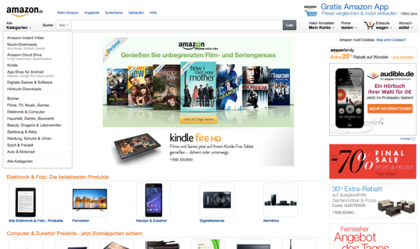 Die Amazon Homepage vermittelt dem Nutzer ein großes Sortiment...
