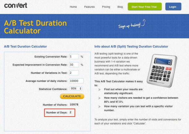 A/B Test Duration Calculation - convert.com