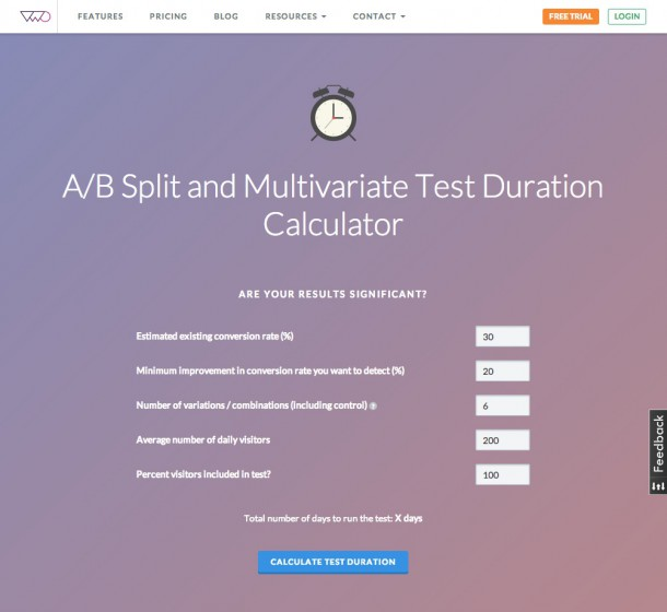 Beispiel: Test Duration Calculator (vwo.com)