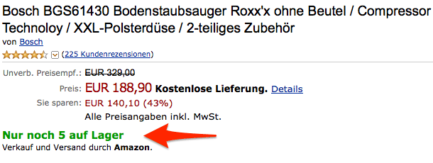 Verknappung bei Amazon