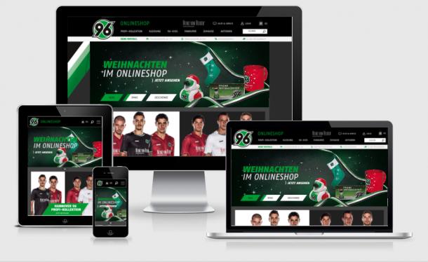 Der Onlineshop von Hannover 96 passt sich kleinteilig an verschiedene Auflösungen an.