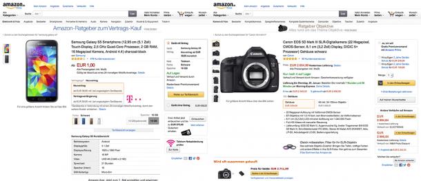 Produktdetailseiten von Amazon im Vergleich