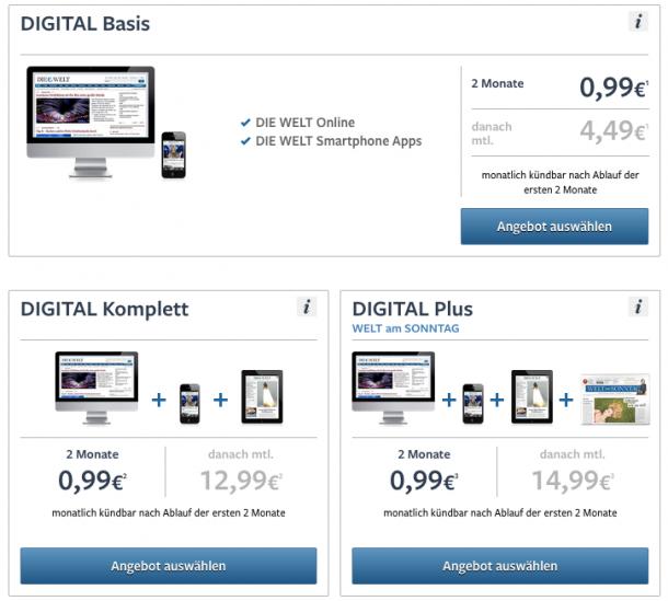 Digitale Abonnements bei welt.de