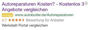 Google Anzeige Autoreparatur