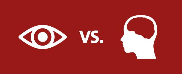 Illustration Sehen vs. Merken
