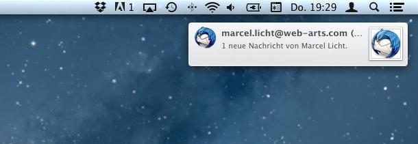 Die Push Notifications in OS X erscheinen und verschwinden automatisch. So werden sie wahrgenommen, ohne zu stören.