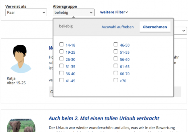Identification Altersgruppe bei holidaycheck.de