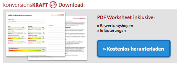 Mobile Landinpage Bewertung Download CTA