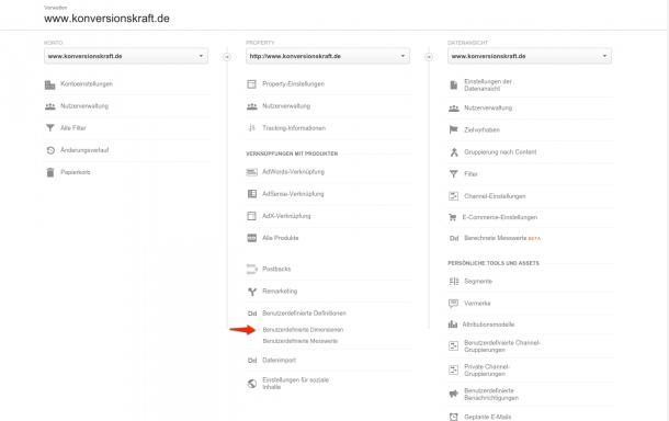 Benutzerdefineirte Dimensionen in Google Analytics (Stand 11/2015)