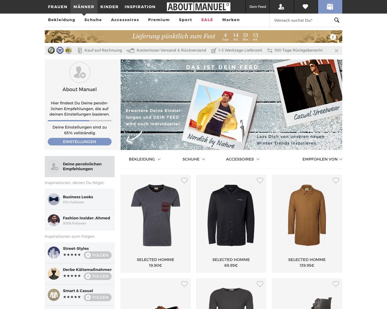 Der persönliche Feed bei About You basiert auf Angaben des Nutzers z.B. über Marken und sein Verhalten. Nettes Detail: Das Logo wird ebenfalls nach dem eigenen Namen personalisiert.