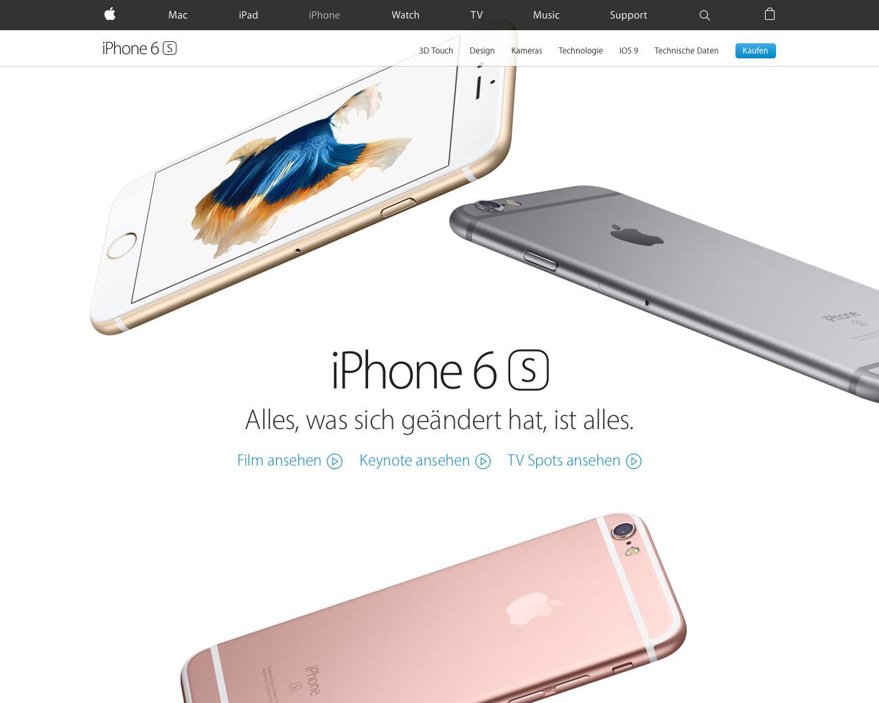 Apple setzt Animationen durch Parallax Scroling und Videomaterial auf den Produktseiten ein.