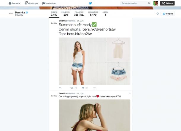 Einsatz von Bildern und Links bei Twitter von Bershka