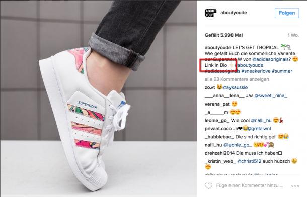 Typischer Hinweis auf den Link in der Bio bei Instagram.
