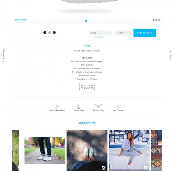 Native Shoes nutzen die stimulanten Bilder von Instagram direkt beim Produkt.