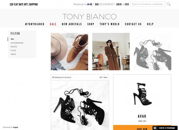 Auch im Shop Tony Bianco lassen sich Produkte von Instagram direkt kaufen. Zudem werden die Bilder auch noch auf der Produktdetailseite angezeigt.