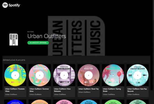 Einige Playlists und über 20.000 Follower konnte Urban Outfitters schon für sich auf Spotify gewinnen.