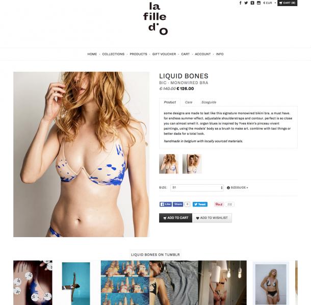 Auf Tumblr hat La fille d'O die Möglichkeit auch mit freizügigeren Fotos zu arbeiten. Diese werden zur Unterstützung auf der Produktdetailseite angezeigt.