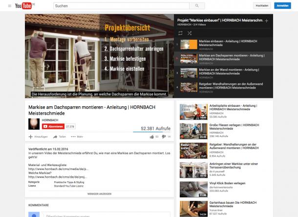 Das Ratgeber-Video von Hornbach hält weiterführende Links für den Nutzer bereit.