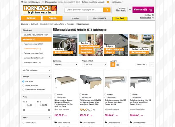 Auch im Shop werden die Inhalte auf Youtube verlinkt. So kann sich Hornbach als kompetenter Partner positionieren.