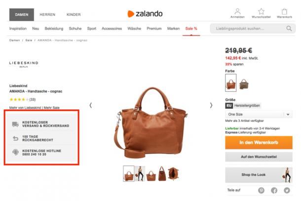 Produkttexte Value Propositions - Zalando