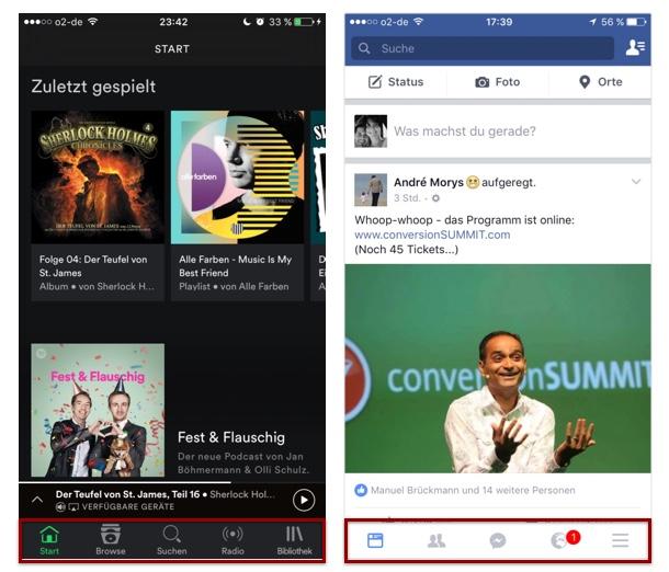 App Navigation im Footer - Spotify und Facebook
