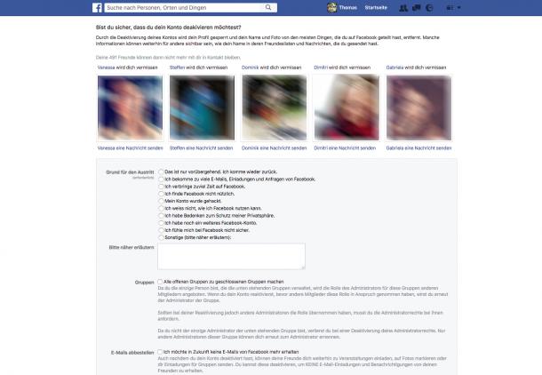 Account deaktivieren bei Facebok