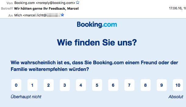 Booking fragt unregelmäßig per Mail - so wird der Anbieter erneut in Erinnerung gerufen.