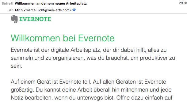 Evernote liefert gleich nach der Registrierung mehr Vorteile und Nutzungsmöglichkeiten. Die Zahl der tatsächlich aktiven Nutzer wird dadurch sicherlich gesteigert.