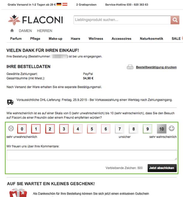 Flaconi bittet auf der Dankeseite um Feedback.