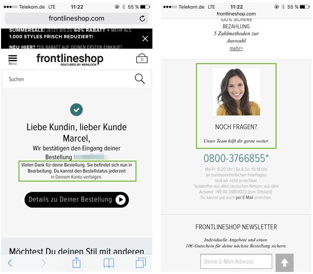 Auch beim Frontlineshop wird der direkte Kontakt bei Fragen angeboten. Mögliche Zweifel nach dem Kauf können so direkt beseitigt werden.