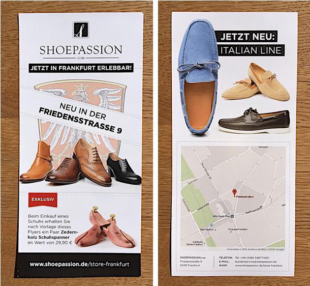 Vor zwei Jahren habe ich online bei Shoepassion bestellt. Der Anbieter hat sich meinen Wohnort Frankfurt gemerkt & schickte mir vor einigen Monaten eine personalisierte Karte per Post.