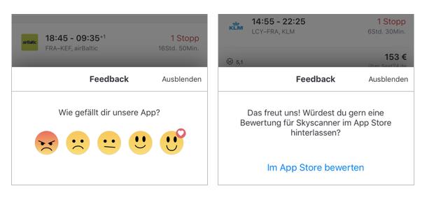 Auch bei Skyscanner wird bereits während der Benutzung Feedback erbeten.