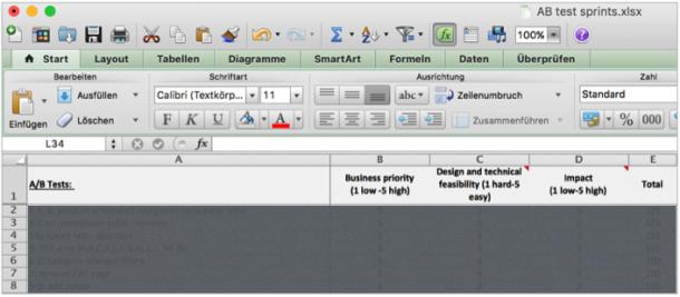 Abb. 14 Excel Sheet Priorisierung