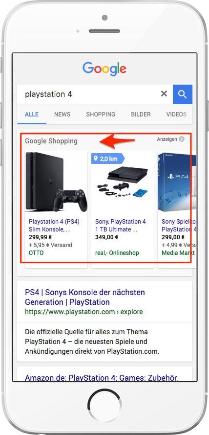 Beispiel für Google Shopping Ergebnis