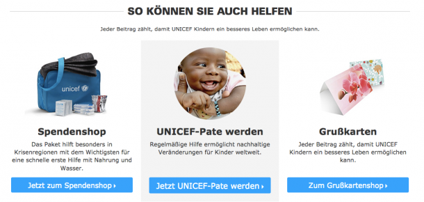 Center Stage Effect bei Unicef