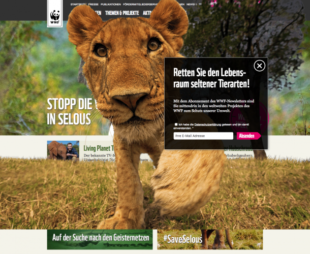 Newsletter Pop-Up von WWF