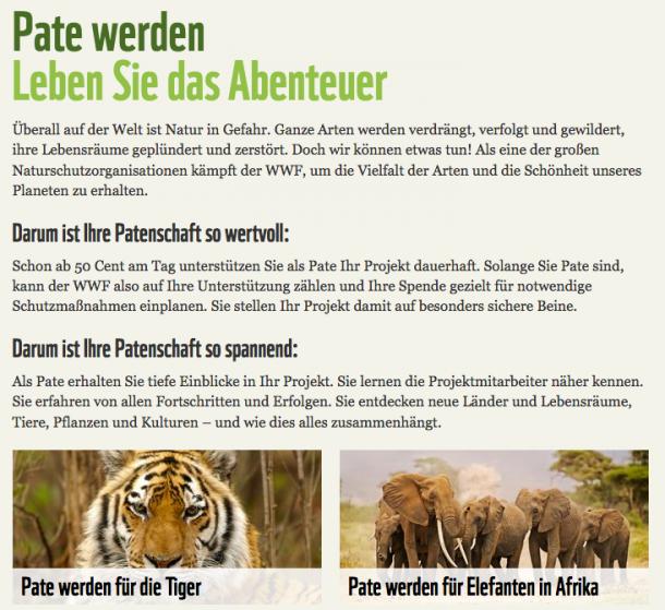 Reason Why für eine Patenschaft beim WWF