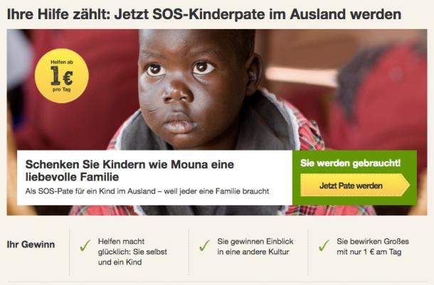 Reason Why für eine Patenschaft bei SOS Kinderdorf