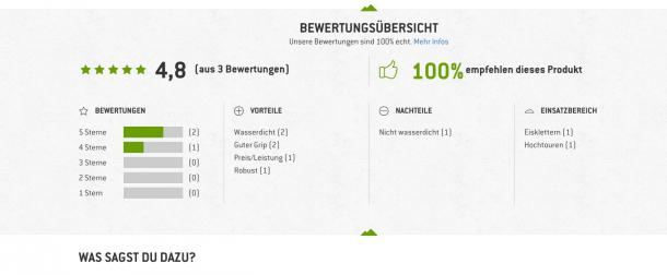 Soziale Bewährtheit auf Bergfreunde.de