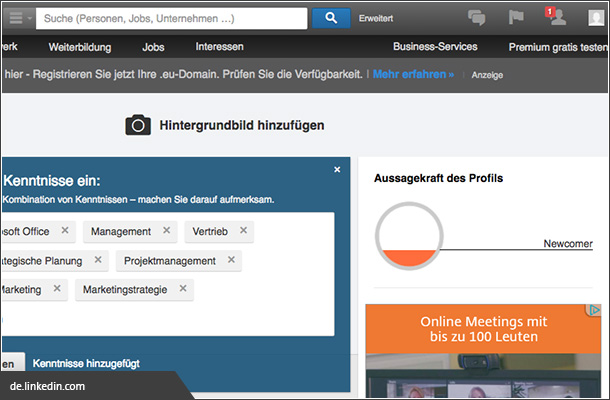 Completion bei linkedin