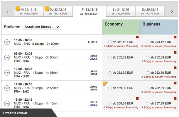 Scarcity bei Lufthansa