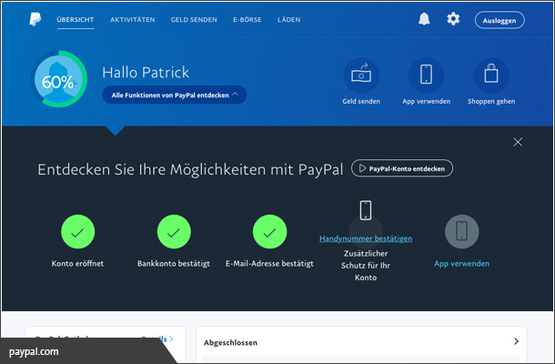Completion bei Paypal
