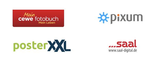4 Fotobuch-Anbieter Logos