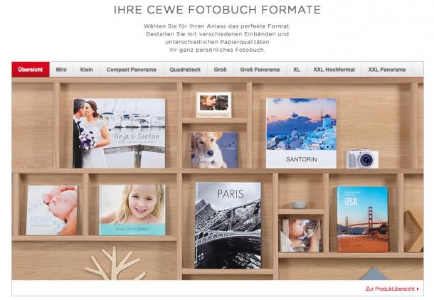 CEWE Fotobuch Formate Übersicht