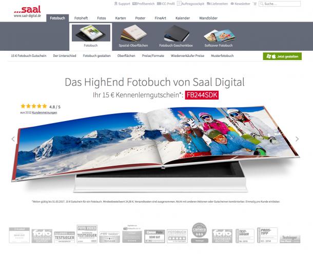 Saal Digital Landingpage