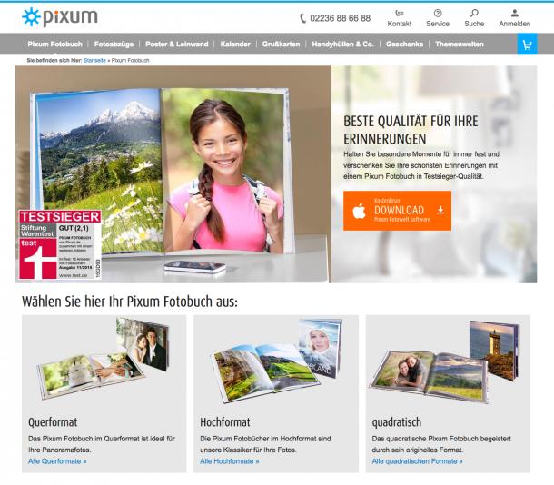 Pixum Fotobuch Landingpage