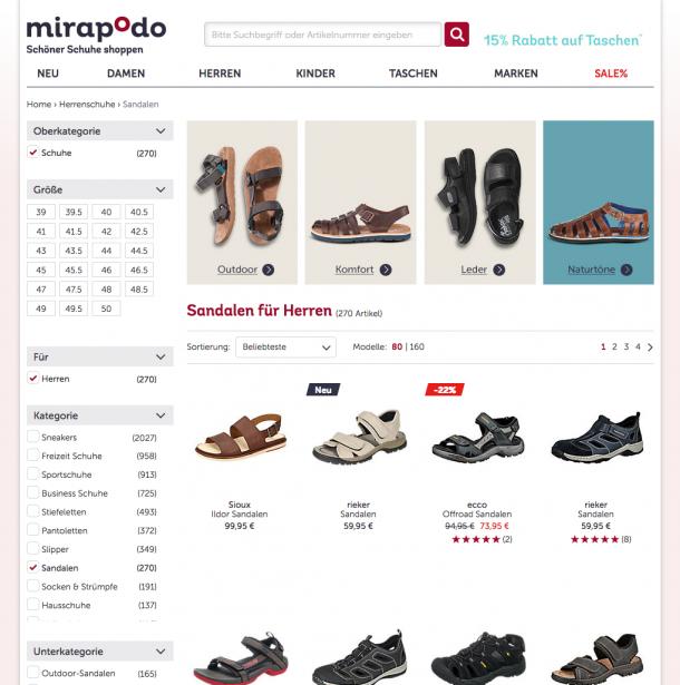 mirapodo.de hebt in allen Kategorien im Kopfbereich der Listen die relevantesten Filter hervor und zeigt ein Beispielprodukt zur Orientierung