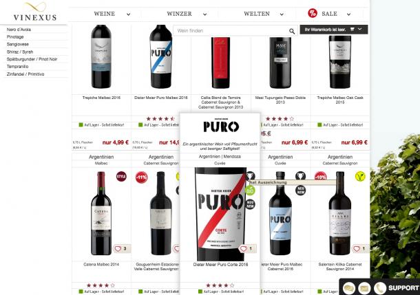 vinexus.de zeigt Auszeichnungen und Besonderheiten der Weine bereits auf der Produktliste. So ist es möglich schon früh ein Produkt zu differenzieren
